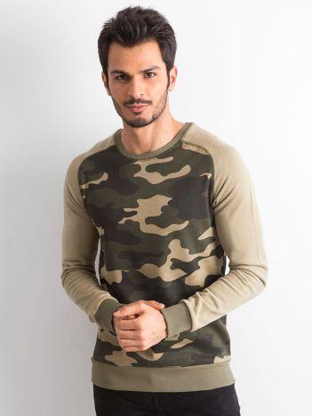 Khaki bluza męska z militarnym nadrukiem
