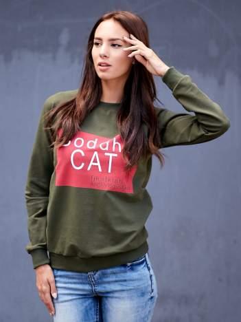 Khaki bluza z napisem BODDHA CAT