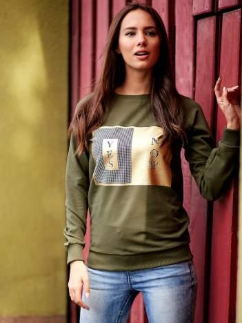 Khaki bluza z napisem YES NOW