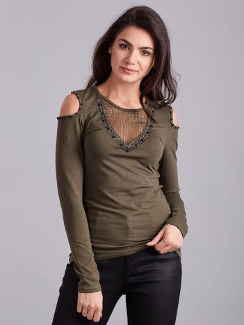 Khaki bluzka cold shoulder z aplikacją