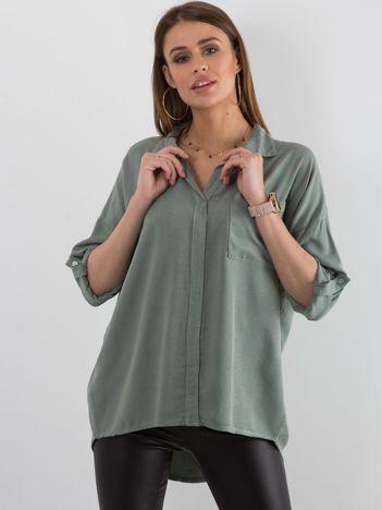 Khaki bluzka oversize z kieszenią