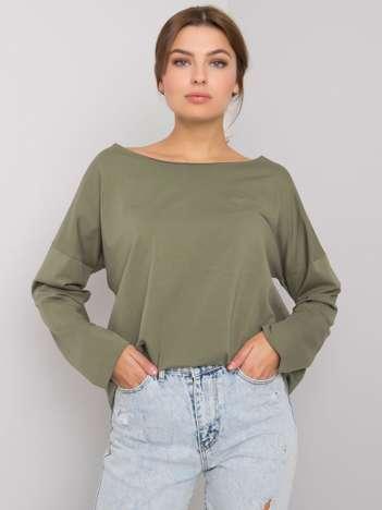 Khaki bluzka z długim rękawem Leyah