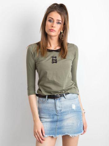 Khaki bluzka z kołnierzykiem