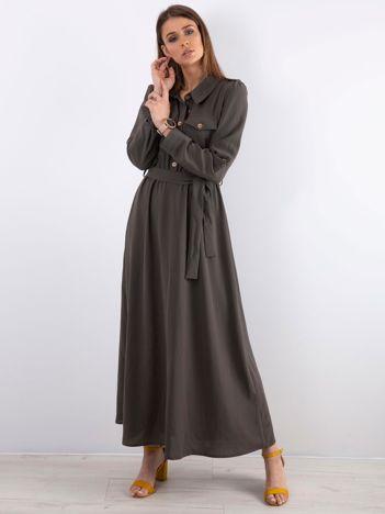 Khaki długa sukienka z kieszonkami