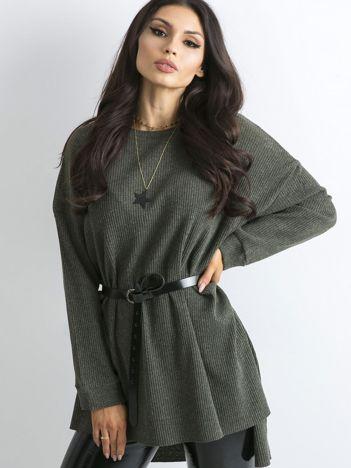 Khaki dłuższy sweter oversize w prążek