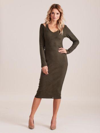 Khaki dopasowana sukienka cold shoulder