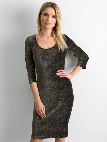 Khaki dopasowana welurowa sukienka