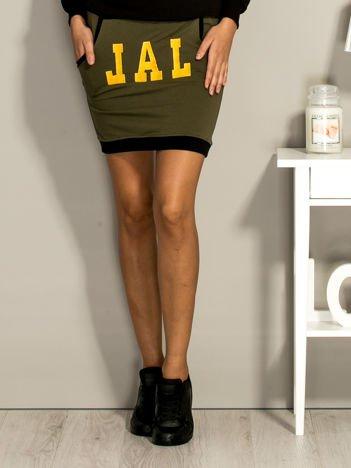 Khaki dresowa spódnica