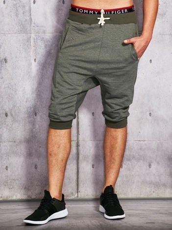 Khaki dresowe szorty męskie ze ściągaczami