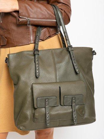 Khaki duża torba z ekologicznej skóry