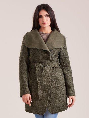 Khaki dzianinowy damski płaszcz