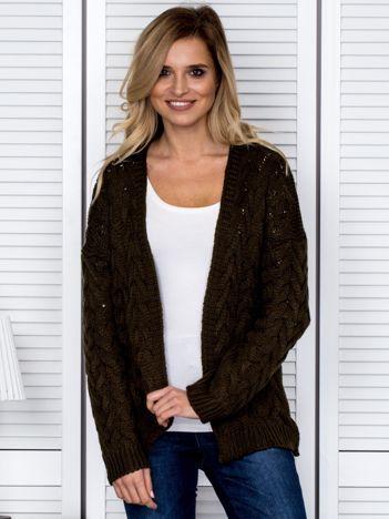 Khaki dziergany otwarty sweter