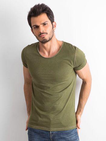 Khaki gładka koszulka męska