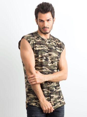 Khaki koszulka męska z nadrukiem moro