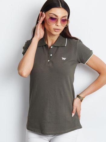 Khaki koszulka polo z motylem