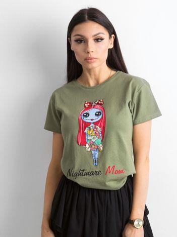 Khaki koszulka z kolorowym printem