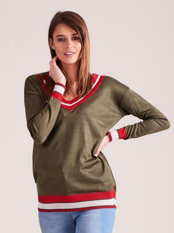 Khaki lekki sweter z dekoltem V-neck