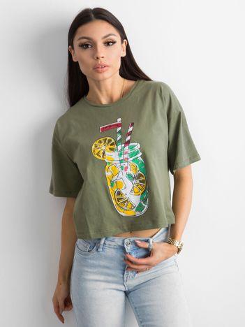 Khaki luźny t-shirt z nadrukiem