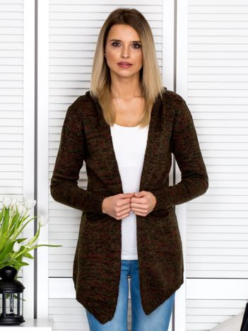 Khaki melanżowy sweter z kapturem