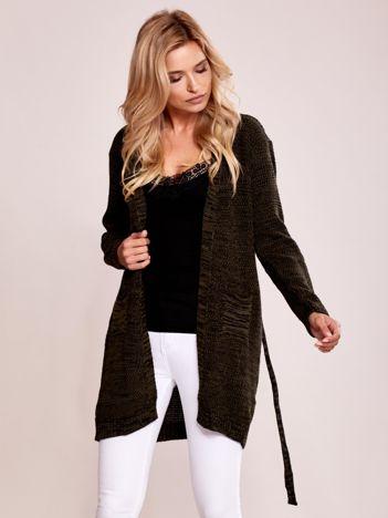 Khaki melanżowy sweter z paskiem