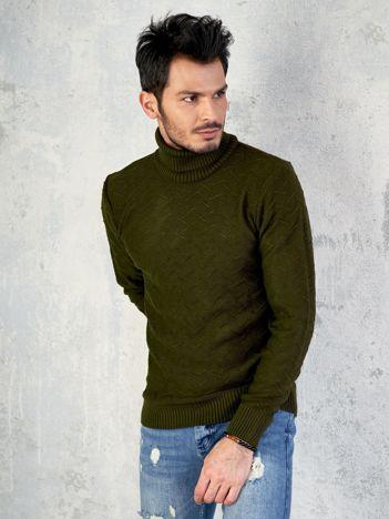 Khaki męski sweter z golfem