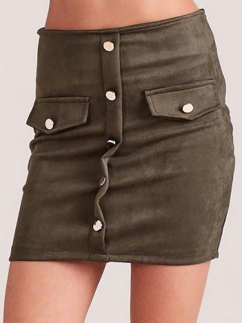 Khaki ołówkowa spódnica z imitacji zamszu