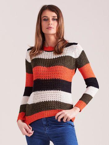 Khaki-pomarańczowy sweter w pasy