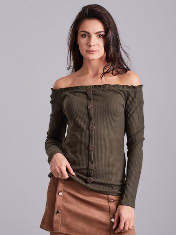Khaki prążkowana bluzka hiszpanka