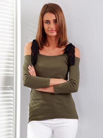Khaki prążkowana bluzka z kokardami na ramionach