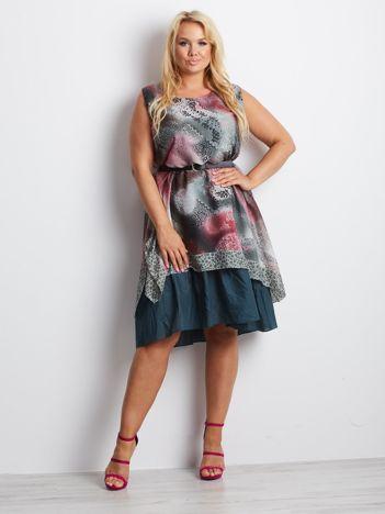 Khaki-różowa sukienka plus size Ambrella