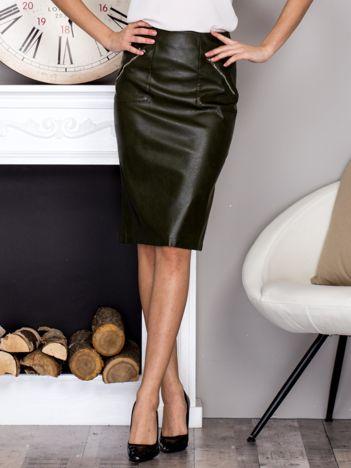 Khaki skórzana spódnica midi z suwakami