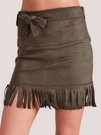 Khaki spódnica z frędzlami