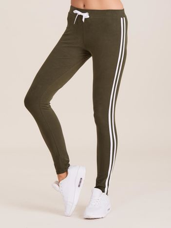 Khaki spodnie dresowe damskie z lampasami