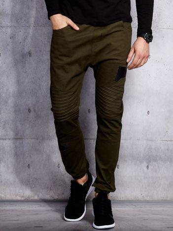 Khaki spodnie joggery męskie z przeszyciami i łatami