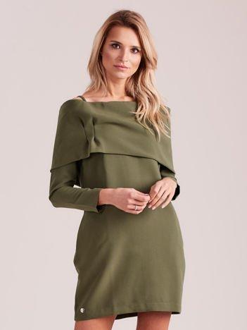 Khaki sukienka cold arms z szeroką falbaną