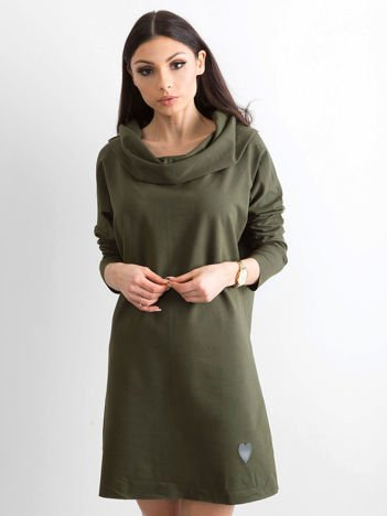 Khaki sukienka dresowa z szerokim kołnierzem