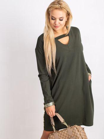 Khaki sukienka plus size Mode