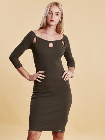 Khaki sukienka w prążek z wycięciami