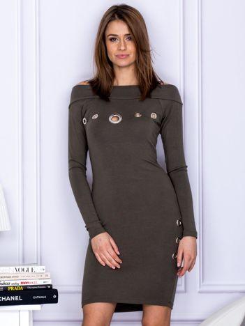Khaki sukienka z ażurowaniem