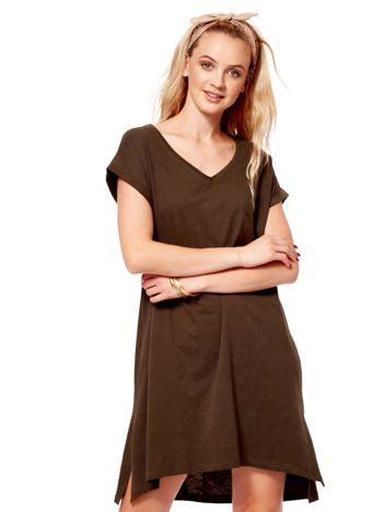 Khaki sukienka z podwijanymi rękawami
