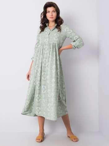Khaki sukienka z printami Lynn RUE PARIS