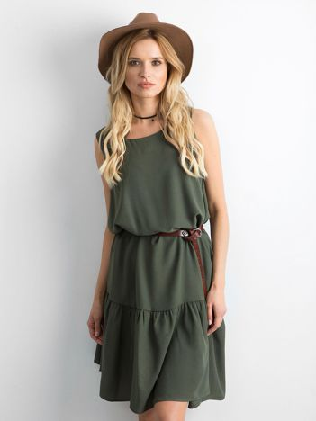 Khaki sukienka z szeroką falbaną