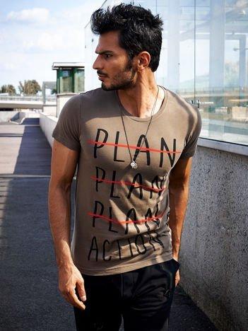 Khaki t-shirt męski z motywacyjnym nadrukiem