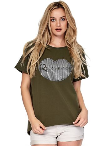 Khaki t-shirt z motywem ust