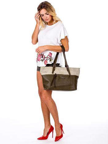 Khaki torba shopper z materiałową wstawką