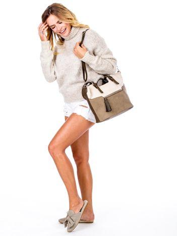 Khaki torba z chwostem i odpinanym paskiem