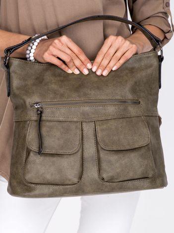 Khaki torba z ozdobnymi kieszonkami na magnes