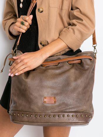Khaki torba ze ściągaczem
