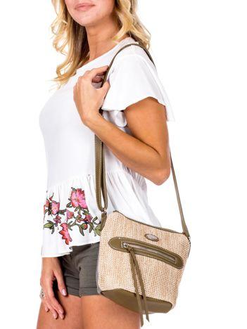 Khaki torebka damska z plecionym modułem