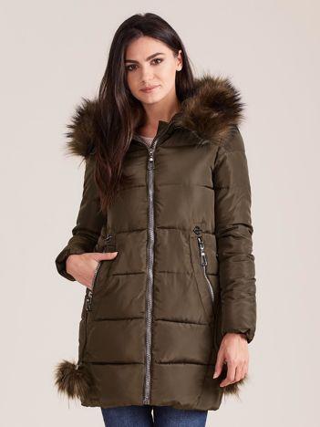 Khaki zimowa kurtka damska z futerkiem